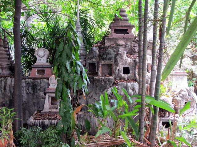 Gravestones at the ossuary in Wat Prayoon, Bangkook
