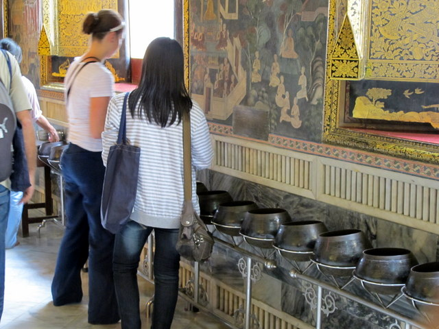 108 Bowls in the hall of the Reclining Buddha, Wat Po, Bangkok