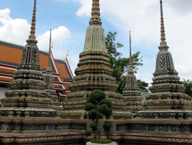 Tile covered  Stupa's containing Buddha's ashes at Wat Po, Bankok