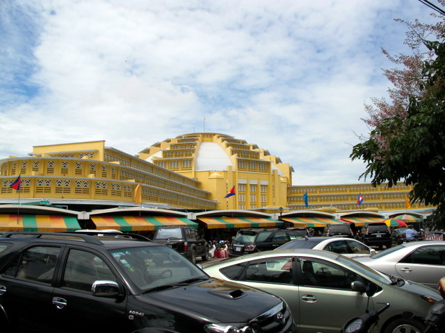 The sleek design of the Central Market in Phnom Penh