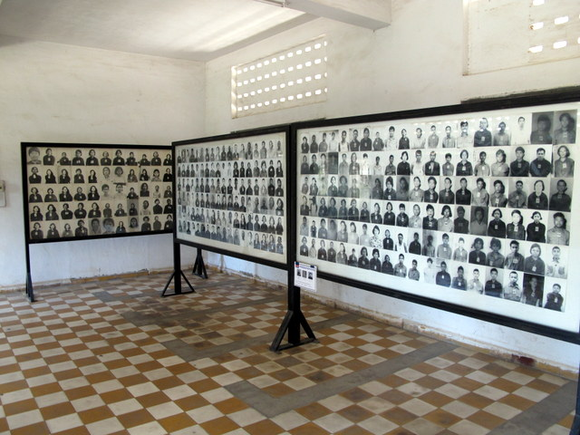 Photos of victims at the Genocide Museum