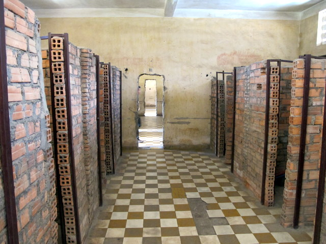 Classrooms divided into cells at the Genocide Museum