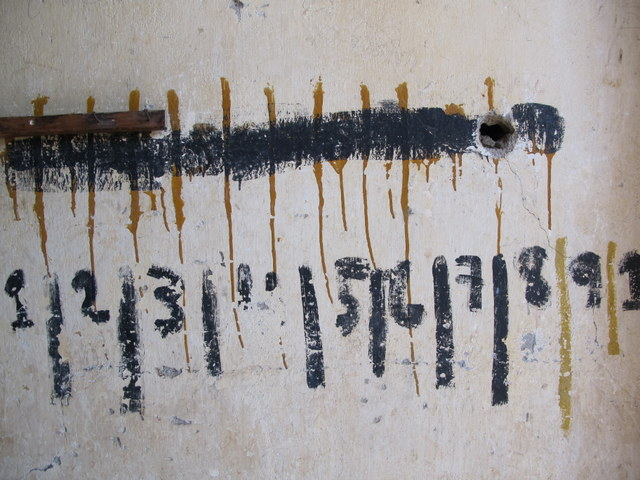 A cell count painted on the wall at the Genocide Museum