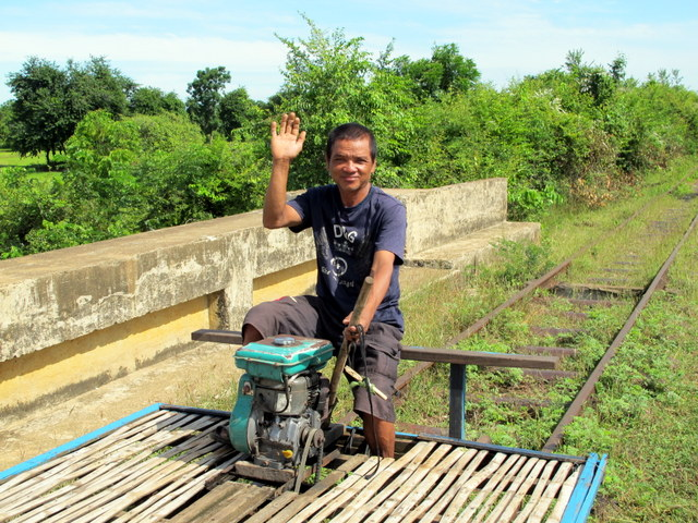 Bamboo Train Driver Outside Battambang