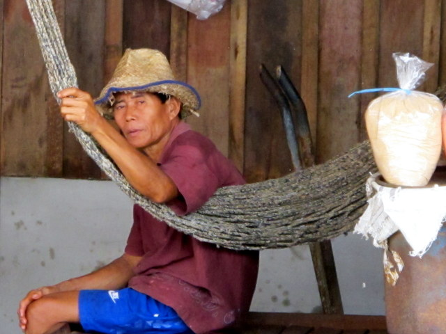 Worker takes a rest at the place where they make fish paste