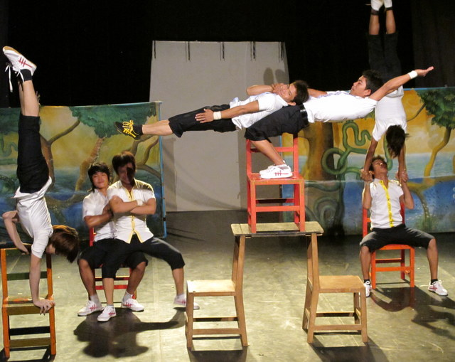 Students perform in the Bamboo Big Top