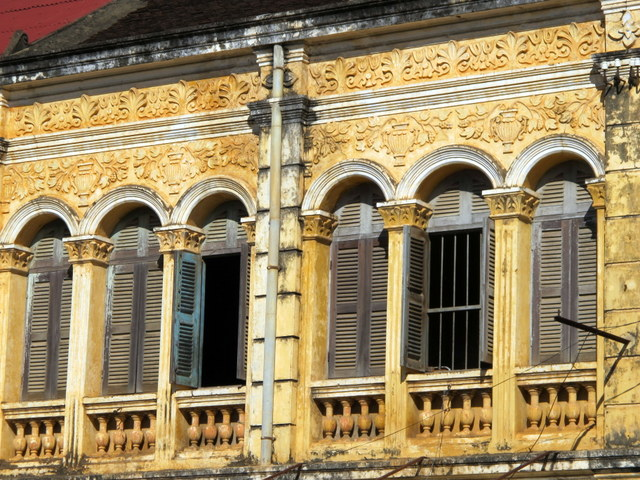 Upper floor of an old French shop house in Battambang