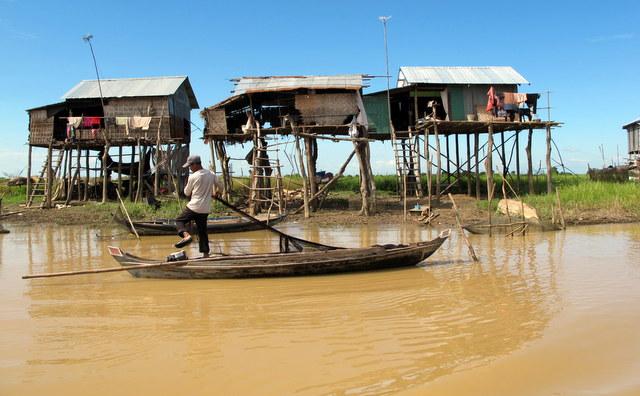 Stilt houses along the Sangker River