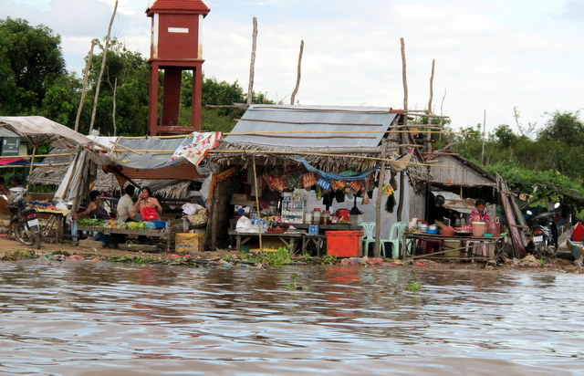 Market in the floating village leading into Siem Reap