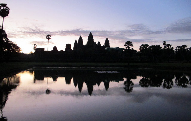 The Temple of Angkor Wat at sunrise.