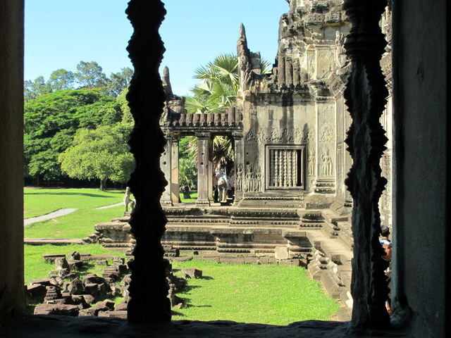 View through a window at Angkor Wat