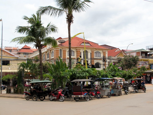 Tuk Tuks in a Siem Reap square