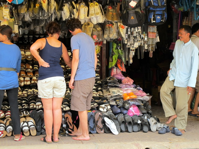 Shopping for shoes in the old market, Siem Reap