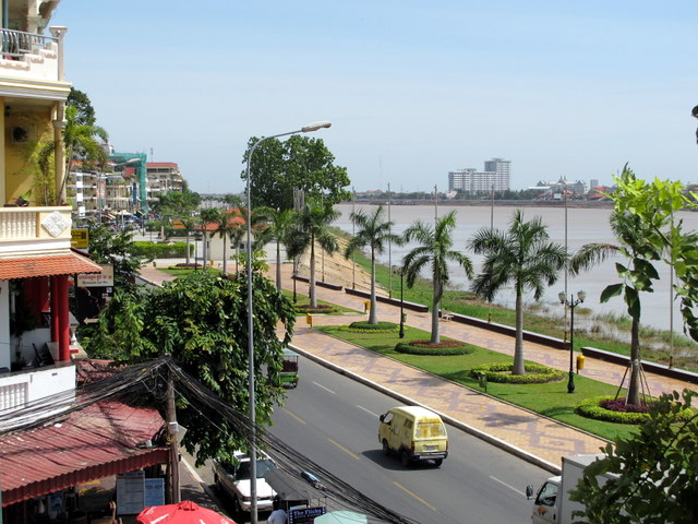 View of the Tonle Sap River in Phnom Penh