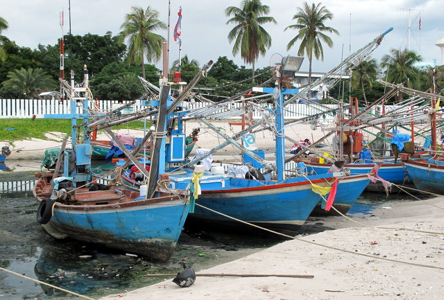 Fishing boats waiting for the tide in Hua Hin