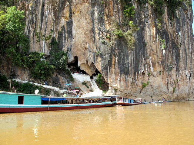 Long Tail boats at the Pak Ou Buddha Caves