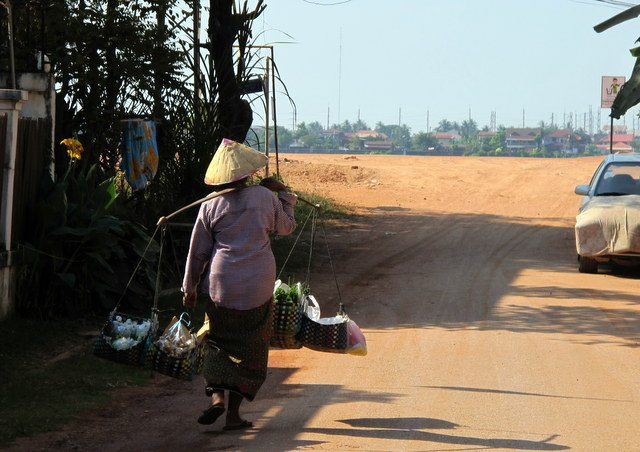On a dust road in Vientiane, Laos