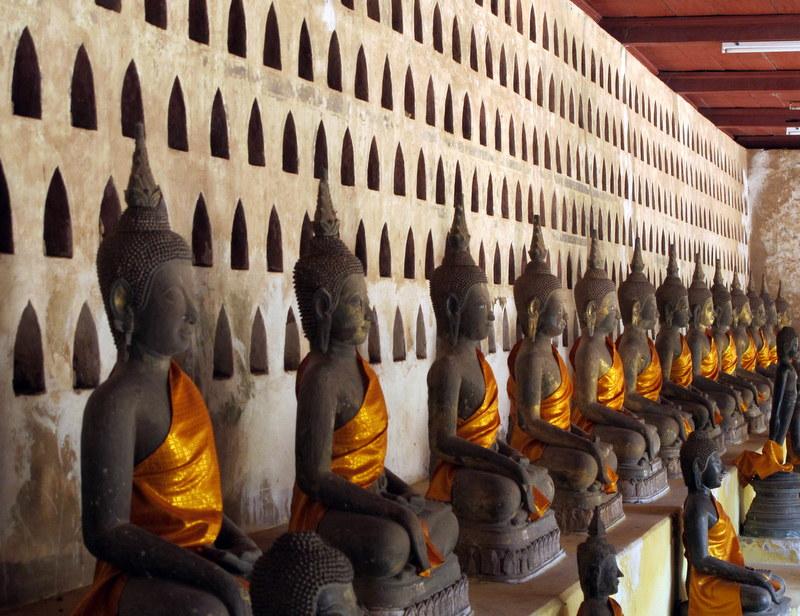 Hall of Buddha's at at Sisaket in Vientiane, Laos