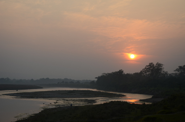 Sunset over the Rapti River in Chitwan, Nepal