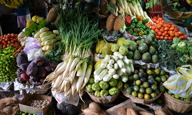 Vegtables in the market at Nuwara Eliya, Sri Lanka look like a 17th Century Dutch Painting