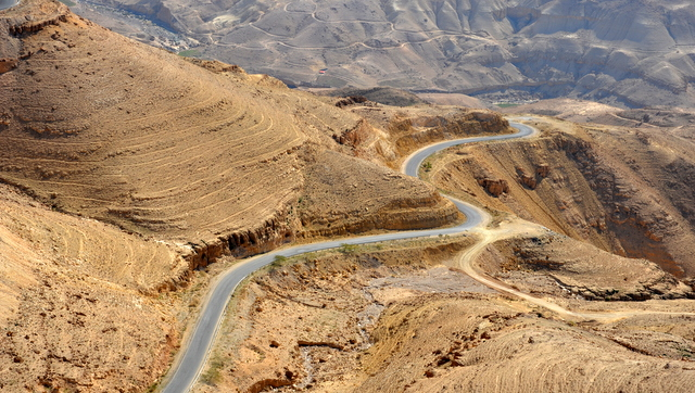 Switchbacks in Wadi Mujib Jordan