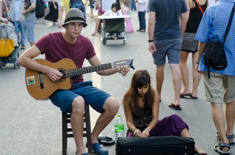 Singing at the Sunday Night Market
