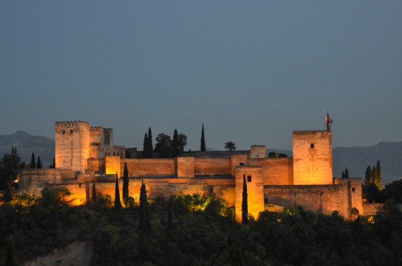 The Alhambra at night..Granada, Spain